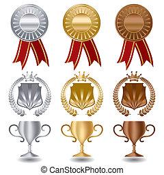 Gold Silber und Bronzemedaillen
