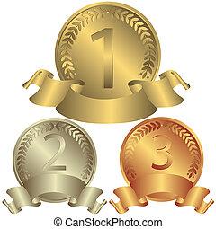 Gold, Silber und Bronzemedaillen (Vector)