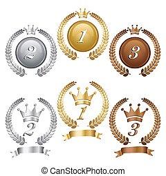 Gold-Silber- und Bronzemedaillen.