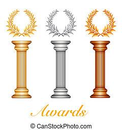 Gold-Silber- und Bronzepreis-Kolumne mit Lorbeerkranz