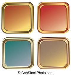 Gold-, Silber- und Bronzerahmen (Vektor)