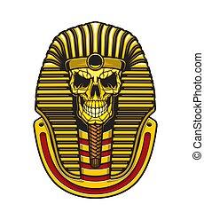 gold, totenschädel, ägypter, maske, pharao