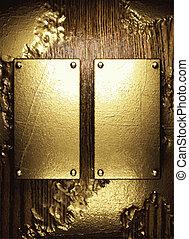 Gold und Holzhintergrund