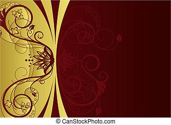 Gold und rote Blumengrenz.