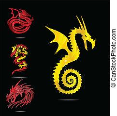 Gold und rote Drachen sind bereit