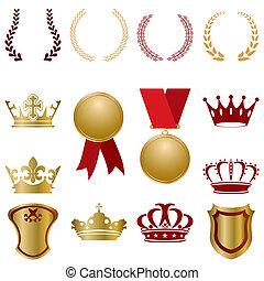 Gold und rote Schmuckstücke