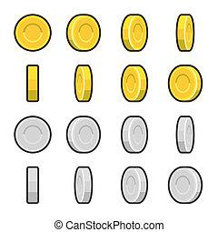 Gold und Silber Münzen mit unterschiedlichen Drehwinkeln.