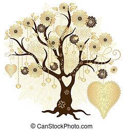 Gold valentine dekorativer Baum.