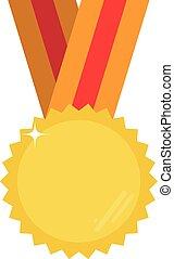 Gold Vektor Medaille mit Platz für Ihren Text oder Bild.