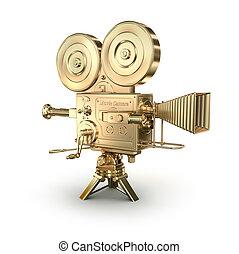 Gold Videokamera auf weißem Hintergrund.