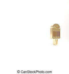gold, weißes, lieb, 3d, render, stock, ikone, abbildung, eis, symbol., freigestellt, hintergrund., creme