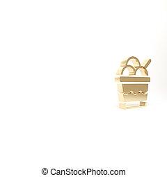 gold, weißes, lieb, render, freigestellt, ikone, abbildung, eis, symbol., 3d, schüssel, hintergrund., creme