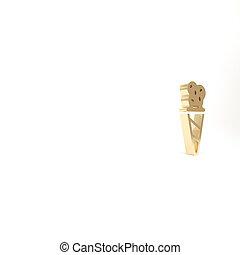 gold, weißes, lieb, render, freigestellt, waffel, ikone, abbildung, eis, kegel, symbol., 3d, hintergrund., creme