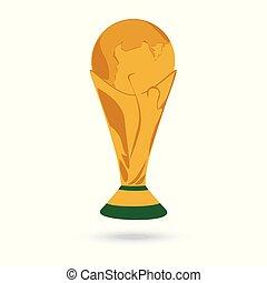 Gold World Cup Trophäe isoliert auf weißem Hintergrund.