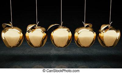 Goldapfel. 3D Rendering