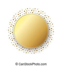 Goldaufkleber isoliert. Vector Illustration.