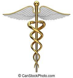 Golden Caduceus medizinisches Symbol