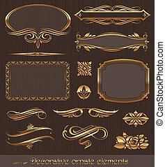 Golden dekorative Vektoren-Entwicklung Elemente &seitige Deko