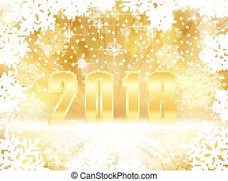 Golden funkelnde 2018 neue Jahre, Weihnachten mit Schneeflocken.