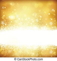 Golden leuchtende Weihnachtsgeschichte mit Sternen, Schneeflocken und Lichtern