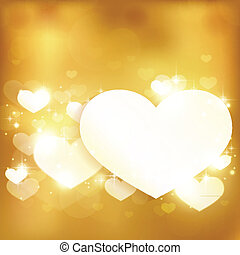 Golden leuchtendes Liebesherz mit Licht und Sternen