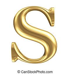 Golden matt Buchstabe S, Schmuck-Font-Sammlung.