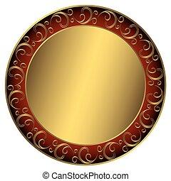 Golden-rot-schwarzer Rahmen.