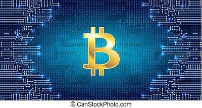 Goldene Bitcoin auf Binärcode Hintergrund und elektronischer Schaltkreis