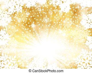 Goldene funkelnde Weihnachtsgeschichte mit Schneeflocken.