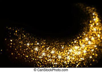 Goldene Glitzerspur mit Sternenhintergrund