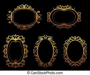 Goldene klassische Rahmen und Grenzen