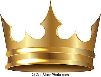 Goldene Krone isoliert weißer Hintergrund.