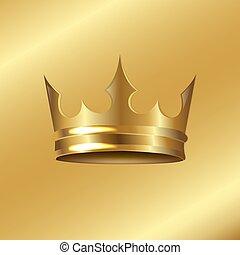 Goldene Krone isolierte goldene Hintergründe.