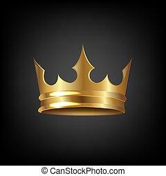 Goldene Krone isolierte schwarzen Hintergrund.