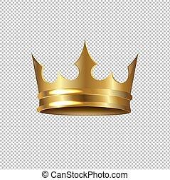 Goldene Krone isolierte transparente Hintergründe.