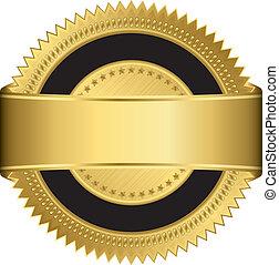 Goldene Label mit goldenem Ribbe
