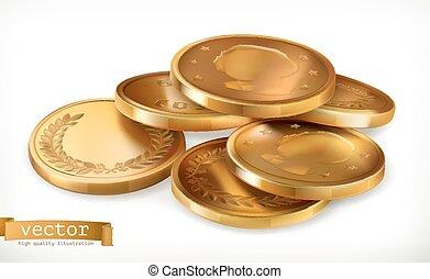 Goldene Münzen. Geld 3-D-Vektor-Icon