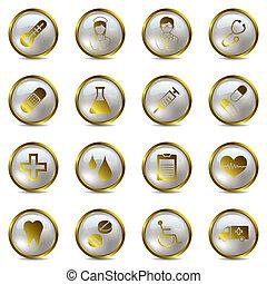 Goldene medizinische Ikonen aufgestellt