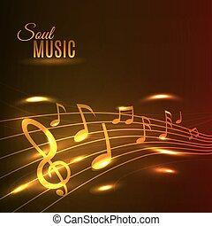 Goldene Musiknoten Stave Poster