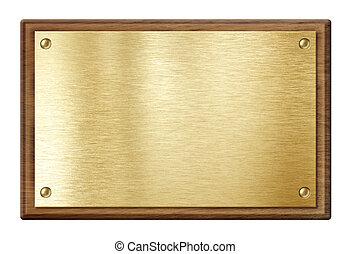 Goldene Platte oder Namenstafel in Holzrahmen, isoliert auf weiß.