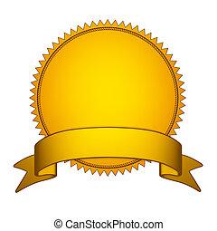 Goldene Robbenmarke mit goldenem Band
