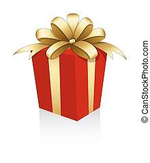 Goldene Schleifen-Geschenkbox.