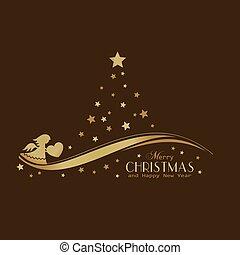Goldene Sterne Weihnachtsbaum mit Engel.