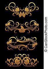 Goldene traditionelle Blumenelemente