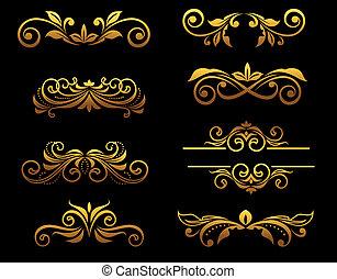 Goldene traditionelle Blumenelemente und Grenzen