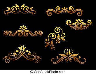 Goldene traditionelle Elemente und Grenzen