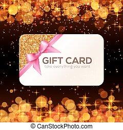 Goldene Vektor-Geschenkkarte mit rosa Schleife und Bogen.