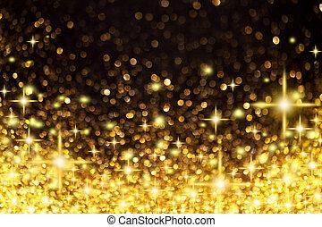 Goldene Weihnachtsbeleuchtung und Sterne Hintergrund