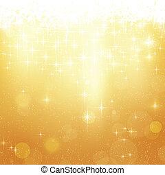 Goldene Weihnachtsgeschichte mit Sternen und Lichtern