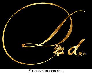 Goldener Buchstabe D